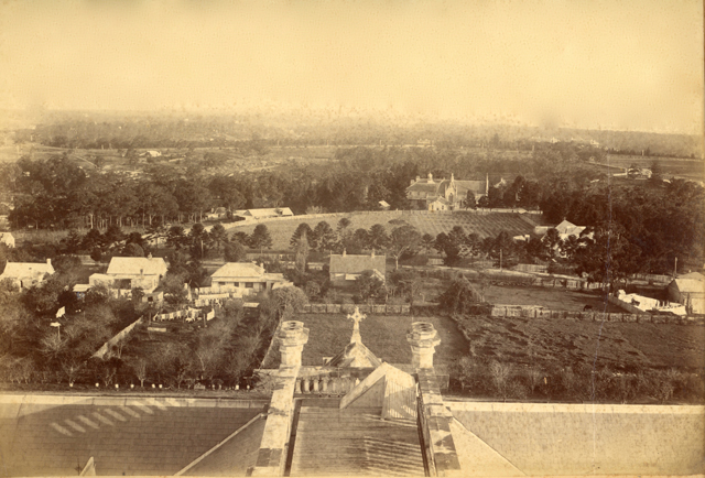 <h4>Image facing footpath – View towards Riverglade Reserve</h4> <p>View to Villa Maria and Gladesville road from the top of St Josephs College – 1897</p>