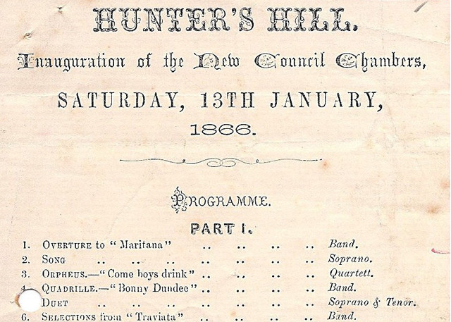 <h4>Town Hall Opening Programme</h4> <p>Hunters Hill Town Hall opening programme 1866</p> <p><a href=
